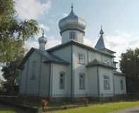 Orthodox church. On blue sky background. Mustvee , Estonia Stock Photography