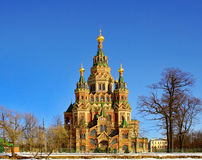Orthodox Church. St. Peter and Paul's church in the Russian city of Peterhof near St. Petersburg Royalty Free Stock Photography