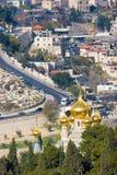 Orthodox church. Panorama of Jerusalem with Church of Maria Magdalene, Israel Stock Photos