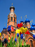 Orthodox Church. Flowers on the background of the Orthodox Church Royalty Free Stock Photo