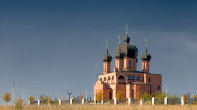 Orthodox church. With view of moon Royalty Free Stock Images