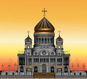 Orthodox church. Vector drawing of the Christian church in Moscow at sunset royalty free illustration