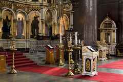 Orthodox church. Interior of Russian Orthodox church in Helsinki, Finland stock photo