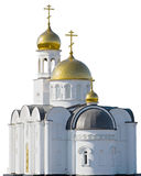 Orthodox church. With a golden dome on a white royalty free stock photo