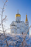 Orthodox church. The Orthodox church in Samara in the winter, surrounded by Stock Photo