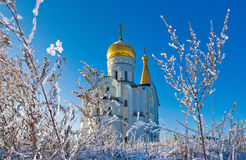 Orthodox church. The Orthodox church in Samara in the winter, surrounded by Royalty Free Stock Images