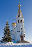 Orthodox church. The Orthodox church in Samara in the winter, surrounded by Royalty Free Stock Photo