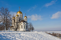 Orthodox church. The Orthodox church in Samara in the winter, surrounded by Royalty Free Stock Photos