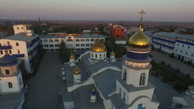 Orthodox church. Aerial photography stock footage