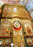 Orthodox church altar. Picture of an Orthodox church altar in Moscow showing the diffent saints Royalty Free Stock Image