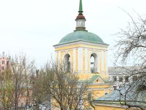 Church bell tower in the center of Kiev. The roof of the church. Orthodox Church on the Andriivsky Descent Royalty Free Stock Photos