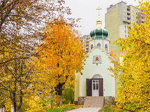 Orthodox church on a background of the construction autumn Royalty Free Stock Photography
