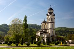 Orthodox church in Banja Luka in Bosnia and Herzegovina. Beautiful landscape or cityscape with the Epiphany Serbian Orthodox church in Banja Luka in Bosnia and Royalty Free Stock Photo