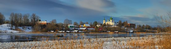 Orthodox Church on the Bank of the Volkhov river in the winter