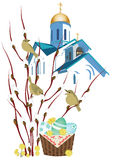 Orthodox church and a basket with Easter eggs Royalty Free Stock Photo