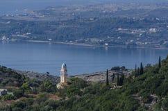 Orthodox church and bay of Argostoli stock image