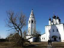 The Orthodox Church and bell tower in Suzdal stock photo