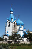 Orthodox church with blue domes. In Russia Royalty Free Stock Images
