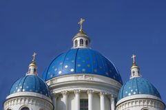 Orthodox church blue domes Royalty Free Stock Photos