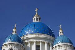 Orthodox church blue domes Royalty Free Stock Photos