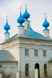 The Orthodox Church with blue domes in Russia. Royalty Free Stock Photo