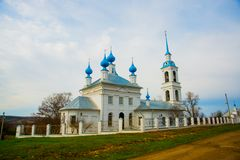 The Orthodox Church with blue domes in Russia. Royalty Free Stock Photography