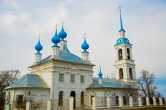 The Orthodox Church with blue domes in Russia. Stock Photography