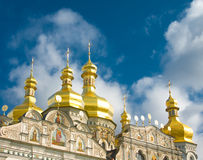 Orthodox church and blue sky with clouds Stock Images