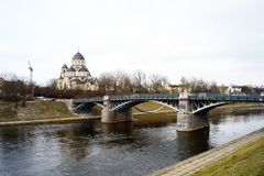 Orthodox church and bridge over Neris river Royalty Free Stock Photography