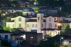 Orthodox church - a bright spot in the night Kastraki, Greece Stock Photos