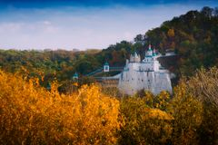 Orthodox church on a chalk cliff in Svyatogorsk. Town, Donetsk Region, Ukraine. Autumn colorful landscape Royalty Free Stock Images