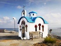 Orthodox Church Chapel Harbor. Blue-white orthodox church chapel in Chania. Crete island, Greece Stock Photo