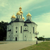Orthodox church in Chernigiv, Ukraine. Orthodox Catherine's church with golden domes in Chernigiv, Ukraine. Chernihiv is one of oldest cities in Ukraine. Square royalty free stock photos