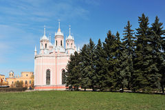 Orthodox Church Chesme Church in St. Petersburg in the spring Royalty Free Stock Photos