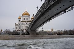 Orthodox Church of Christ the Savior in Moscow at winter Royalty Free Stock Images