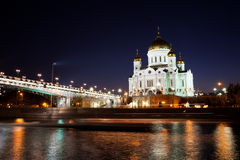Orthodox church of Christ the Savior at night Royalty Free Stock Image