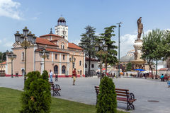 Orthodox Church of Church St. Demetrius and Philip II of Macedon Monument in Skopje, Royalty Free Stock Photography