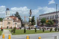 Orthodox Church of Church St. Demetrius and Philip II of Macedon Monument in Skopje, Royalty Free Stock Photos
