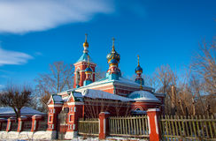 Orthodox church clear sky in winter. Russia Stock Photos