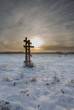 Orthodox church crosses in sunset Royalty Free Stock Photography