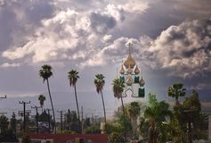 Orthodox Church dome under moody sky Royalty Free Stock Photos