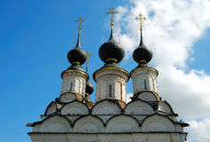 Orthodox church domes. Domes and crosses of the Russian orthodox church at Suzdal town Royalty Free Stock Photos