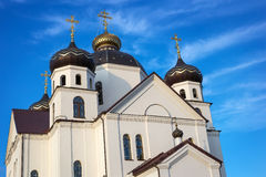 Orthodox Church with domes against the sky Stock Photo
