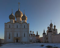 Orthodox church with domes. Orthodox church in the winter against the bright blue sky Stock Photo