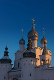 Orthodox church with domes. Orthodox church in the winter against the bright blue sky Stock Image