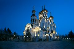 The Epiphany Cathedral. Gorlovka, Ukraine. Winter Christmas nigh. The Orthodox Church - Epiphany Cathedral  in Gorlovka, Ukraine. Winter Christmas night Stock Images