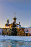 Orthodox church in the evening. Orthodox circuses clear winter it is lit with the setting sun in the evening Stock Photos