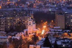 Orthodox church in evening city lights panoramic view, Orel, Rus Stock Photos