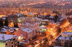 Orthodox church in evening city lights panoramic view, Orel, Rus Royalty Free Stock Image