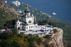Orthodox church in Foros. Famous orthodox church located on the rock above the Black Sea in Foros, Ukraine stock photos